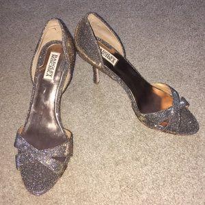 Badgley mischka metallic peep toe pumps 9 1/2 9.5